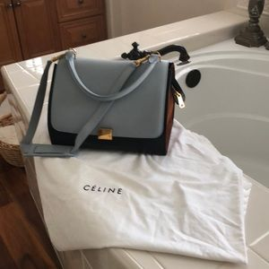 Authentic tri-color Celine all leather bag